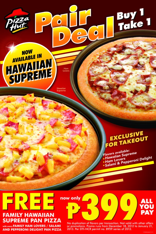 pizza hut philippines Promo pizza pasta chicken sides beverages find a hut coupons  order now order now for delivery phone number for support 911-11-11 .